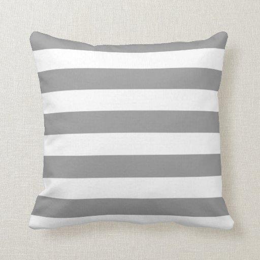 Gris y blanco raya las almohadas de MoJo del ameri