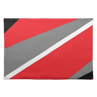 gris y blanco rojos manteles individuales