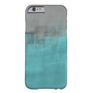 Gris y caja del teléfono de la turquesa funda de iPhone 6 barely there