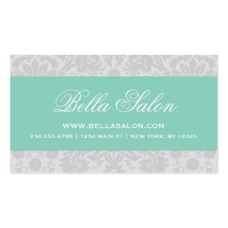 Gris y damasco elegante del vintage de la plantilla de tarjeta de visita