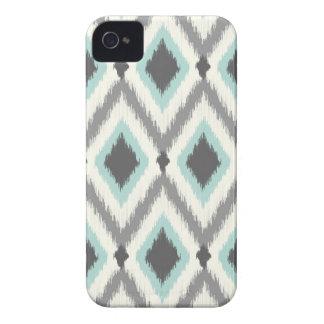 Gris y menta Ikat tribal Chevron iPhone 4 Cobertura