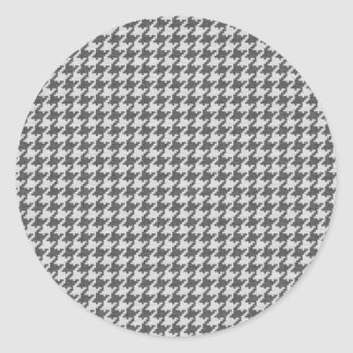 Gris y modelo texturizado blanco de Houndstooth Etiquetas Redondas
