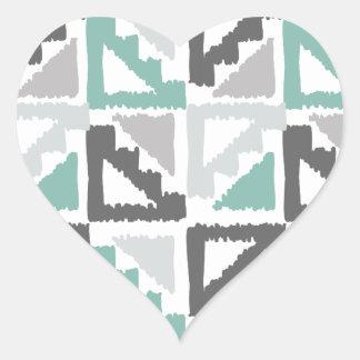 Gris y modelo tribal del triángulo de Ikat de la Calcomanía Corazón Personalizadas