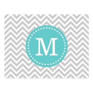 Gris y monograma de Chevron de la turquesa Tarjetas Postales