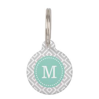 Gris y monograma de los diamantes de Ikat de la Placa De Mascota