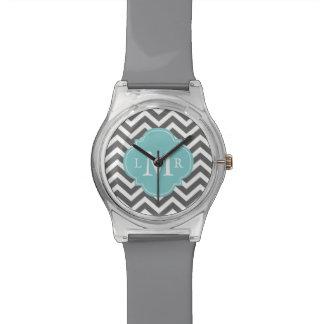 Gris y monograma de Quatrefoil de los zigzags de l Relojes De Pulsera