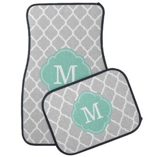 Gris y monograma de Quatrefoil del marroquí de la Alfombrilla De Auto