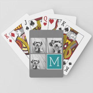 Gris y monograma del collage de la foto de barajas de cartas