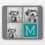 Gris y monograma del collage de la foto de alfombrilla de ratones