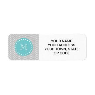 Gris y monograma moderno del personalizado de Chev Etiquetas De Remite