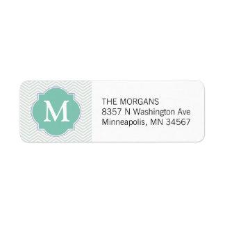 Gris y monograma moderno del personalizado de etiqueta de remitente