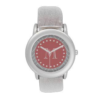 Gris y monograma moderno del personalizado de reloj