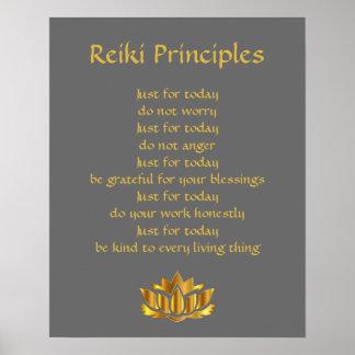 Gris y oro de los principios de Reiki Póster