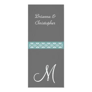 """Gris y plantilla azul del boda del monograma de la invitación 4"""" x 9.25"""""""
