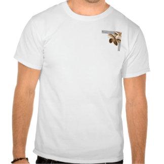 Gris y Plumeria goteados del oro de Champán Camiseta