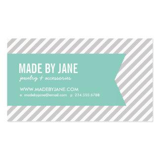 Gris y rayas y cinta modernas de la aguamarina tarjeta de negocio