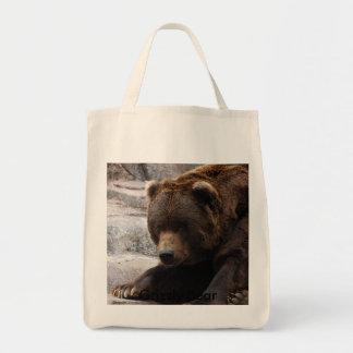 Grisáceo Bear-015, oso grizzly Bolsa Tela Para La Compra