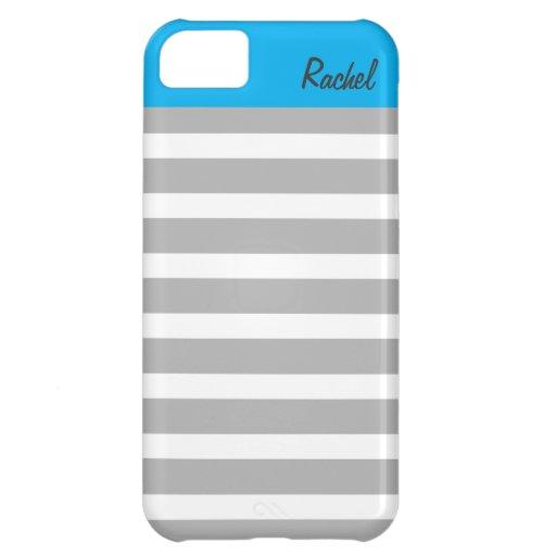 , Grises caja personalizada rayas azules iPhone5 Funda Para iPhone 5C