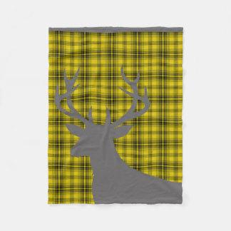 Grises carbones amarillos de la tela escocesa el   manta de forro polar