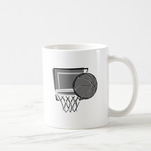 grises del diseño del baloncesto y del aro taza