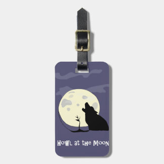 Grite en la pata del perro del lobo de la luna de etiquetas maletas