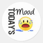 Griterío de hoy del Emoticon del humor Pegatinas Redondas