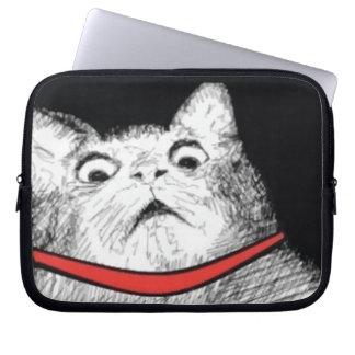 Grito de asombro sorprendido Meme - manga del gato Mangas Portátiles