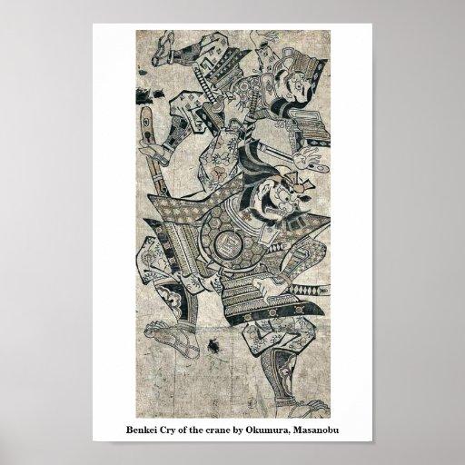 Grito de Benkei de la grúa por Okumura, Masanobu Póster