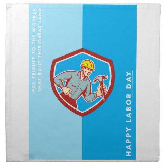 Grito del carpintero del constructor de la tarjeta servilleta imprimida