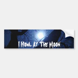 Grito en la luna etiqueta de parachoque