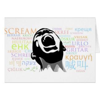 Grito en todas las idiomas tarjeta de felicitación