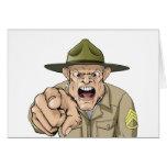 Grito enojado del sargento de taladro del ejército tarjetas