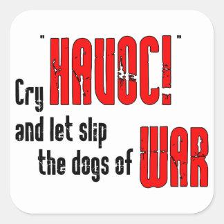 Grito estrago y deje el resbalón los perros de pegatina cuadradas personalizada