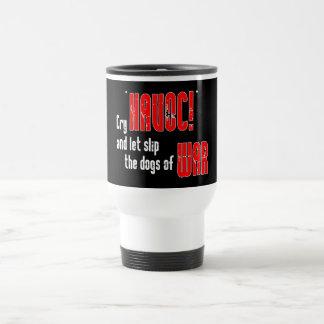 """Grito """"estrago!"""" y deje el resbalón los perros de  tazas de café"""