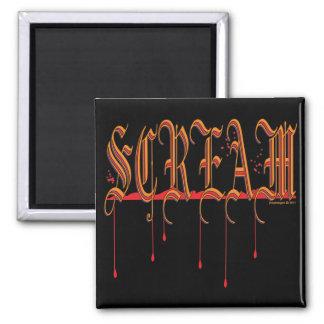 GRITO Halloween sangriento Imán Cuadrado