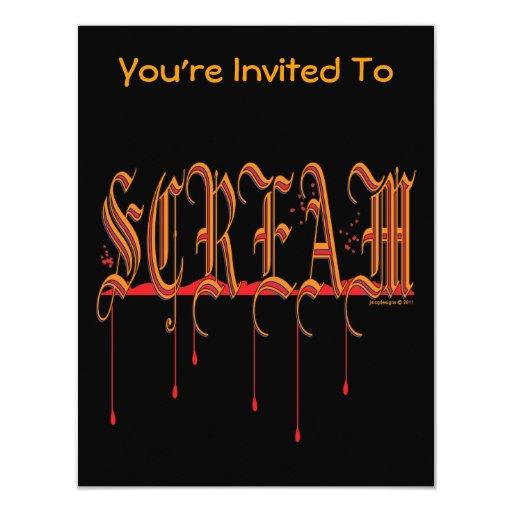 "GRITO Halloween sangriento Invitación 4.25"" X 5.5"""