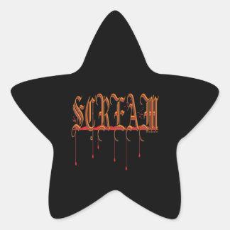 GRITO Halloween sangriento Pegatina En Forma De Estrella