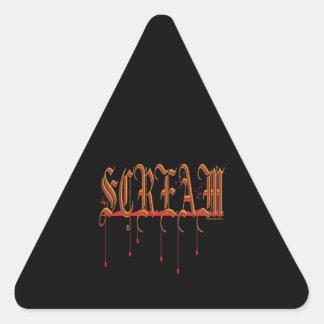 GRITO Halloween sangriento Pegatina Triangular