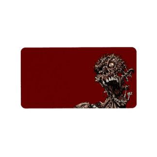 Grito putrefacto angustiado de la carne del zombi etiquetas de dirección