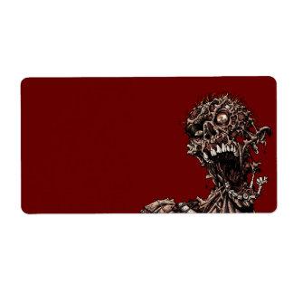 Grito putrefacto angustiado de la carne del zombi etiquetas de envío