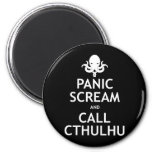 Grito y llamada Cthulhu del pánico Imán Redondo 5 Cm