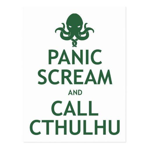 Grito y llamada Cthulhu del pánico Tarjeta Postal