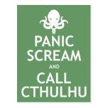 Grito y llamada Cthulhu del pánico Tarjetas Postales