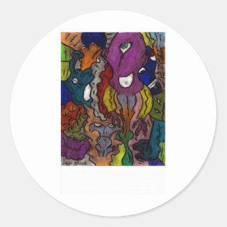 Gritty Alein Puzzle Round Sticker