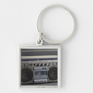 Gritty Boom Box Silver-Colored Square Keychain
