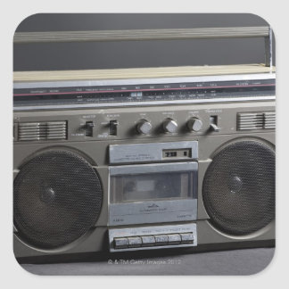 Gritty Boom Box Square Sticker