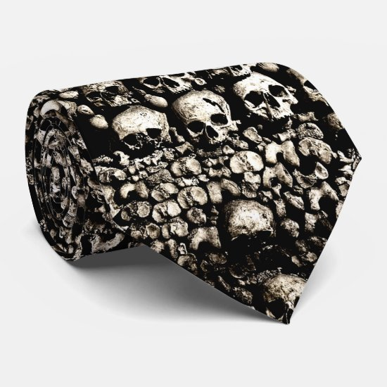 Gritty skulls from the Catacombs of Paris Tie