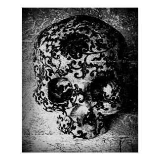 Gritty Sugar Skull Poster