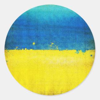 Gritty Ukraine Flag Classic Round Sticker