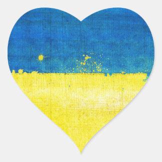 Gritty Ukraine Flag Heart Sticker
